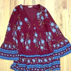 Floral patterned dress with bell sleeves
